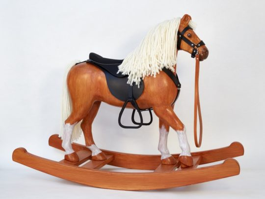 Čenda 53 Wooden Rocking Horse, tan colour finish