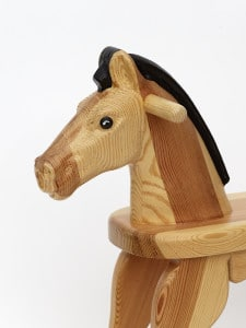 Wooden Rocking Horse, Lackered with Coloured Eyes