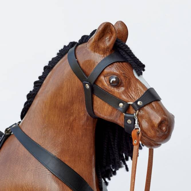 Pohled na důkladně propracovanou hlavu hnědáka Čendy 53 - ručně broušená a malovaná