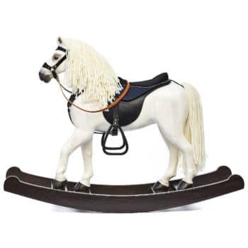 Velký dřevěný houpací kůň bělouš s černým sedlem