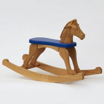 Dřevěný houpací koník přírodní s modrým sedátkem bez ocásku