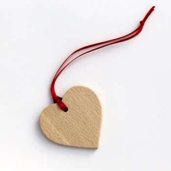 Vánoční ozdoba - srdíčko z bukového dřeva